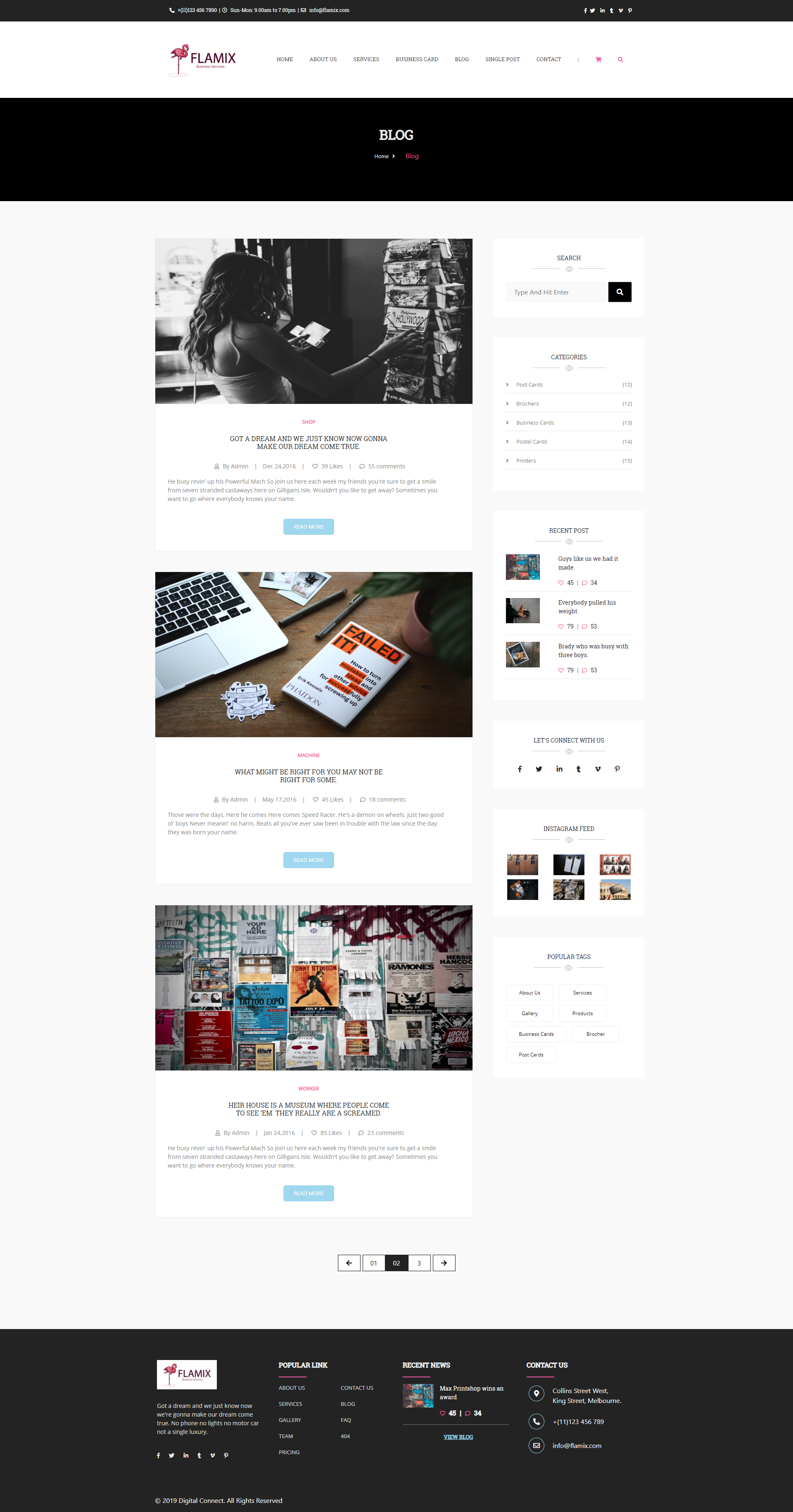 Flamix Free HTML CSS template blog page