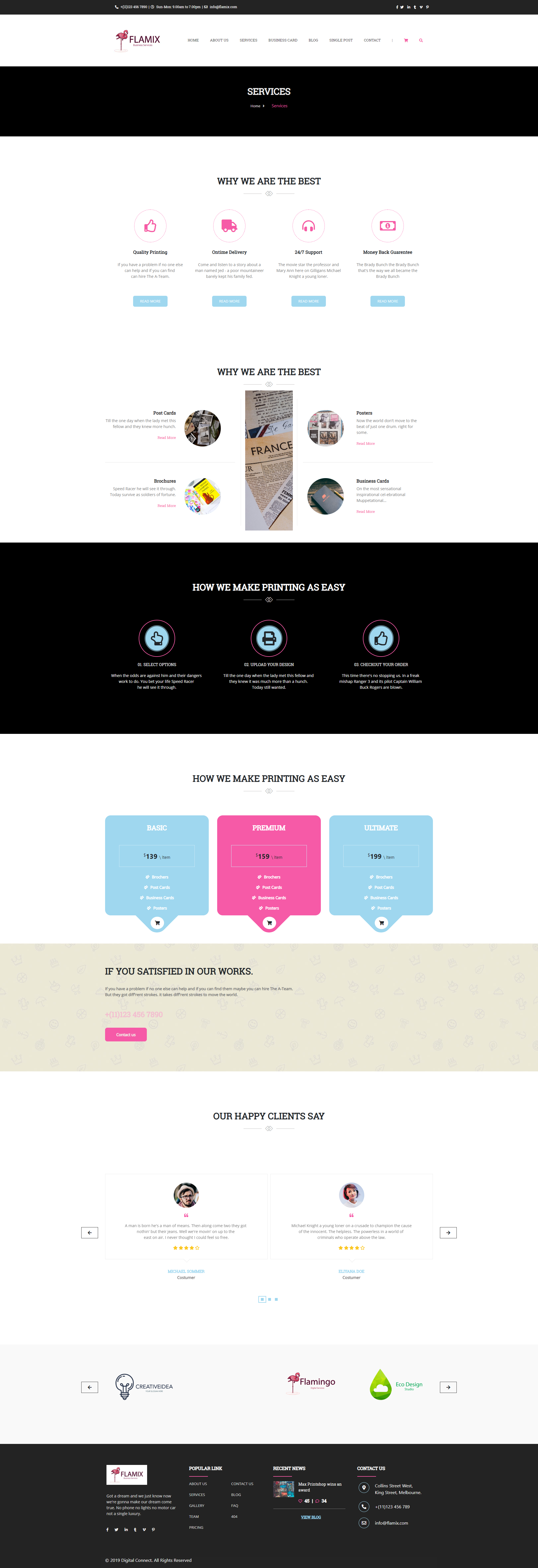 Flamix Free HTML CSS template services business-oriented